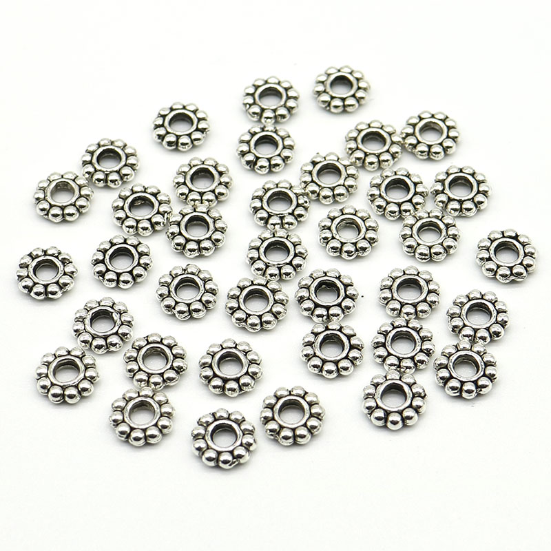 100Pcs Tibetan Silver Charms DIY Spacer Beads For Jewelry Findings 6MM Wholesale