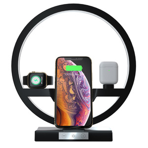 Image 2 - Qi carregador sem fio para iphone 11 pro max samsung suporte do telefone com lâmpada led estação de carregamento doca para airpods iwatch 5 4 3 2 1