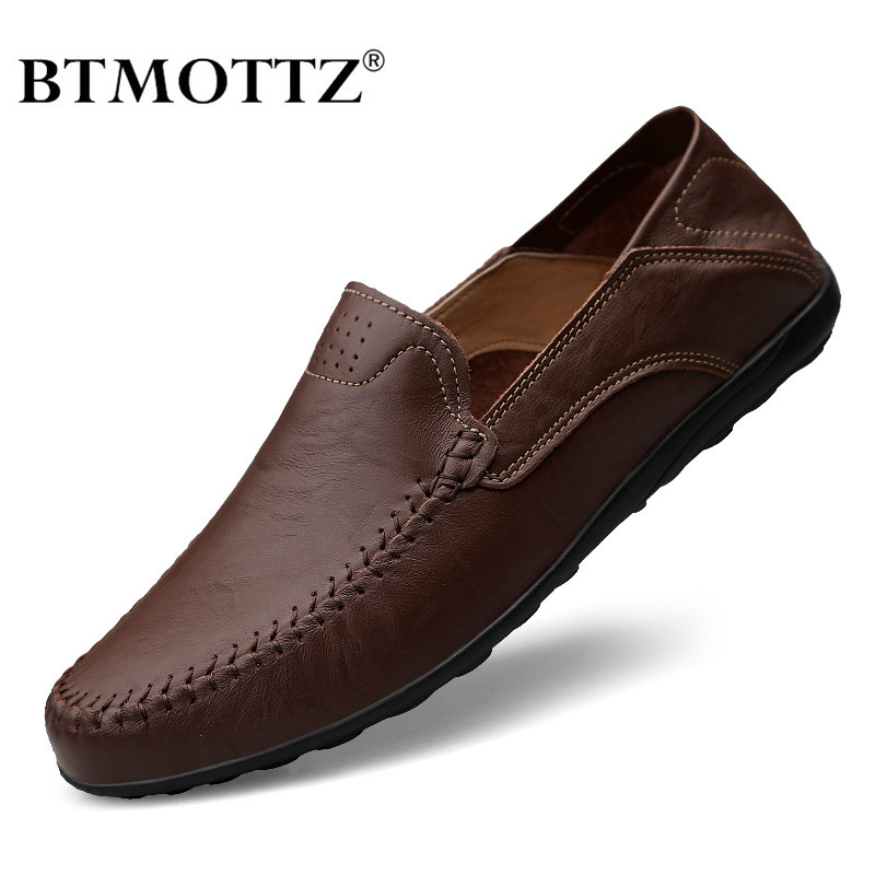 Genuine Leather Mens Shoes Casual Luxury Brand 2020 Men Loafers Moccasins Breathable Slip On Male Boat Shoes Plus Size 37-47
