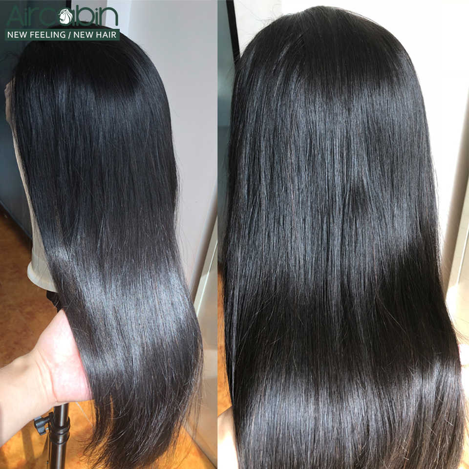 Aircabin Brasilianische Gerade Perücken Menschliches Haar Glueless 13x6 Spitze Frontal Verschluss Perücken Für Schwarze Frauen 150 Hohe Dichte nicht-Remy