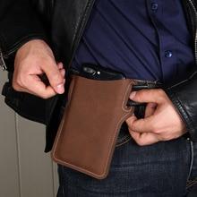 Мода кожа талия пакеты мужчины 4,7-6,9 дюйм мобильный телефон сумка для крючок петля кобура мужской спорт сумка деньги пояс человек талия сумка