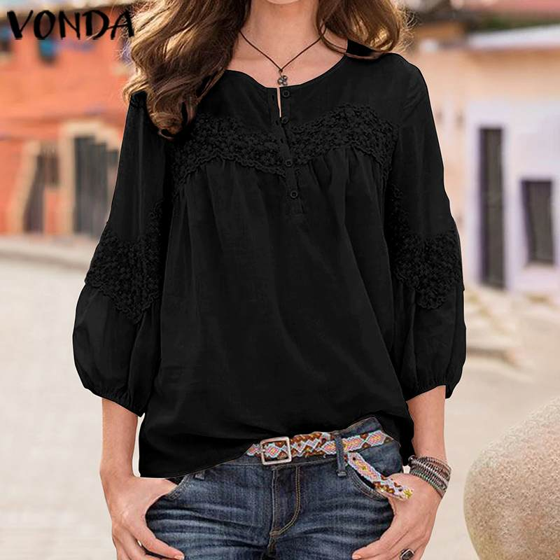 VONDA Tunic Women Tops Bohemian Beach Shirts 2019 Spring Vintage Casual Loose Blouse Office Ladies Sexy Party Tops Plus Size