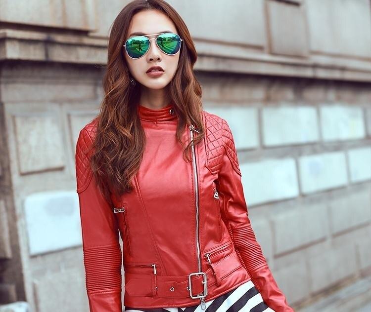 Free Shipping, Red Genuine Leather Women Slim Fur Jackets.Cool Motorbiker Plus Size Female Sheep Skin Jacket Brand Dhl