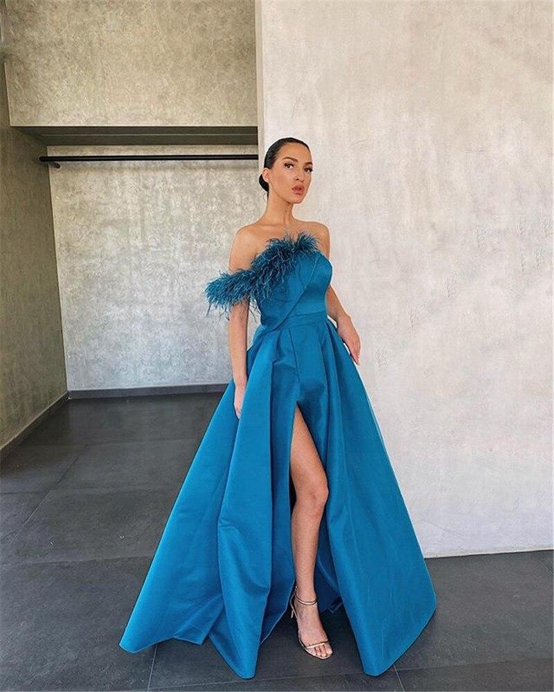 Satin Evening Dress 2020 New Simple High Split Feathers Strapless Sleeveless A-line Floor Length Prom Dress коктейльные платья