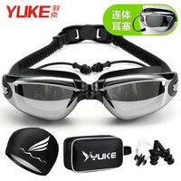 Yuke óculos femininos de alta definição anti nevoeiro à prova dwaterproof água galvanizado grande quadro natação óculos cinta earplug natação Óculos de segurança     -