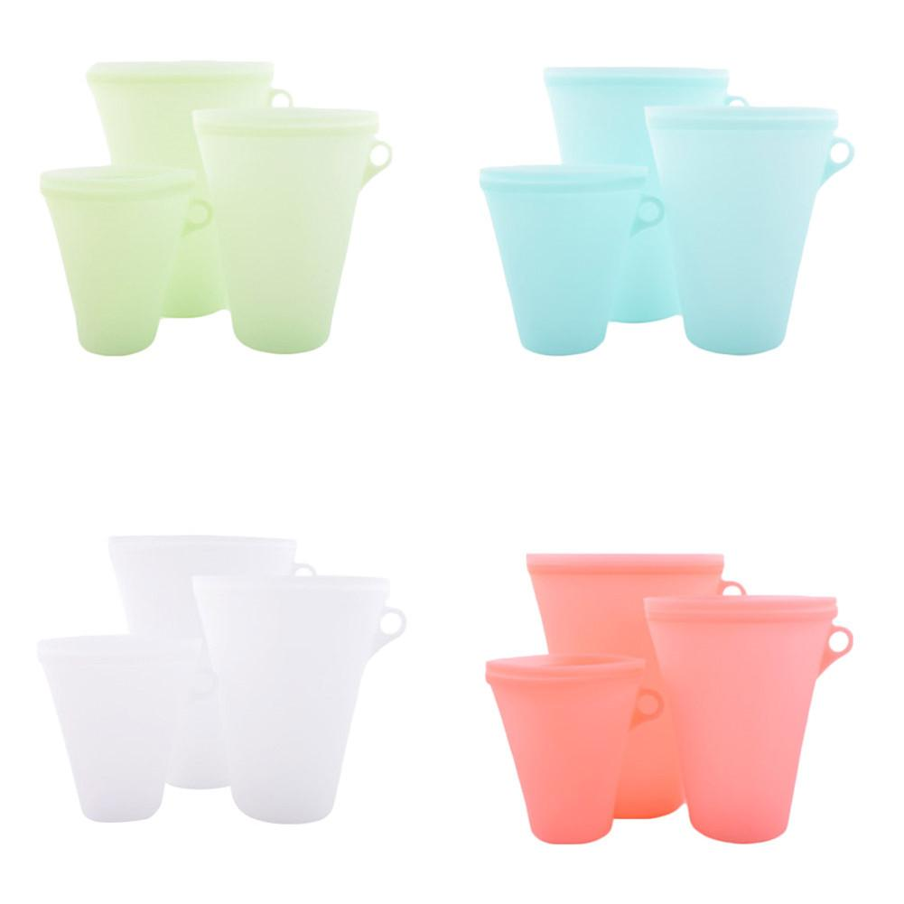 New 3Pcs Economical Reusable Silicone Food Storage Bags Zip Lock Top Leakproof Containers Stand Up Zip Bag Kitchen Tools