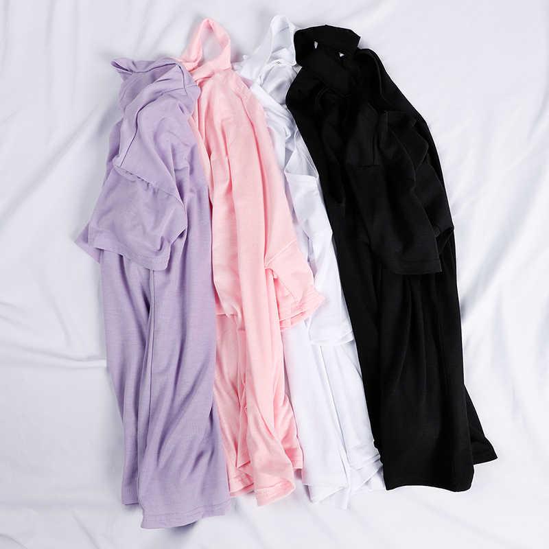 한 어깨 고삐 여자 Tshirt 흰색 짧은 소매 단색 검정 숙녀 Tshirts 2020 여름 패션 캐주얼 T 셔츠 탑스 여성