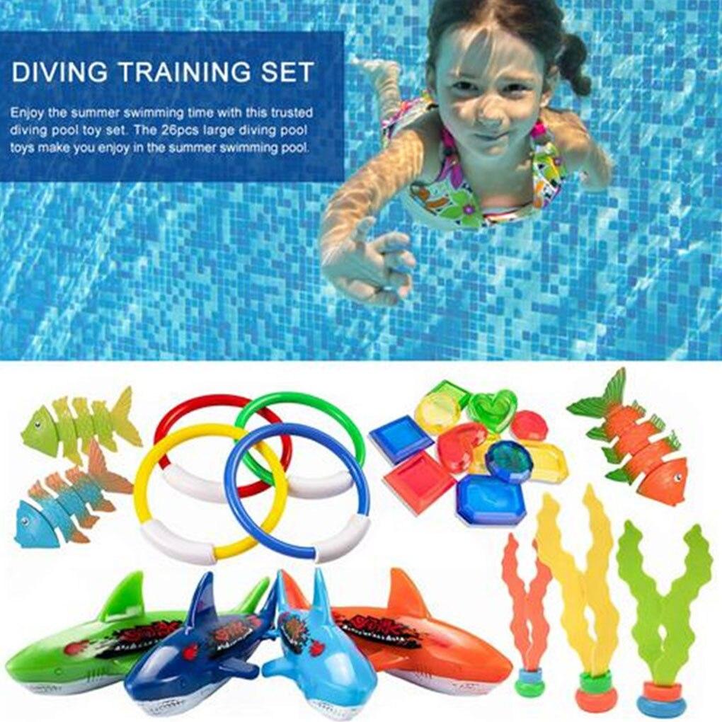 26 Pcs/set Children Diving Game Toys Set Kids Underwater Swimming Diving Training Toys Kit
