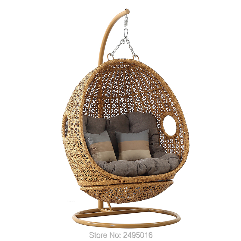Resin Wicker Espresso Hanging Egg Chair With Cushion And Stand Used In Door And Outdoor, Four Color