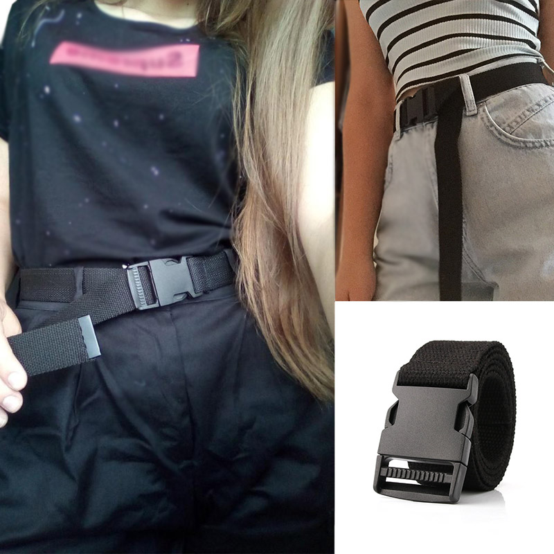Women Men Canvas Belts Plastic Buckle Solid Color Tactical Waist Strap Jeans Trouser Black White Student Unisex Female Waistband