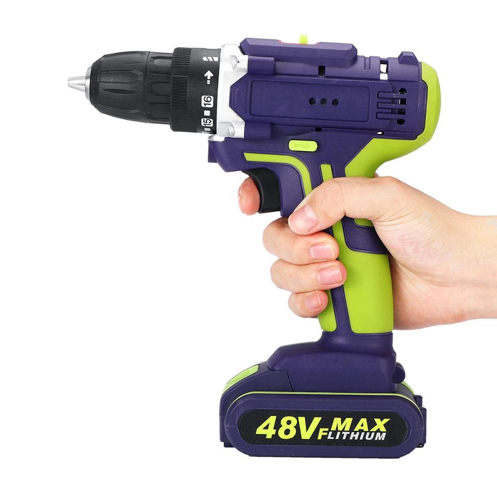 Double Drill 3 Drills ALLSOME Speed Torque In Lighting Cordless Electric Drill Drill 48VF Power 1 25 LED 1 Hammer 50Nm