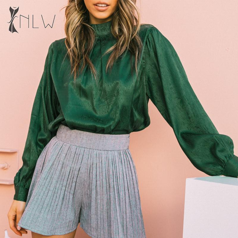 NLW Vintage Lantern Sleeve Blouse Shirt Women Casual Satin Blouse Tops Autumn Winter Office Ladies Green Tops Basic Tops Blusa
