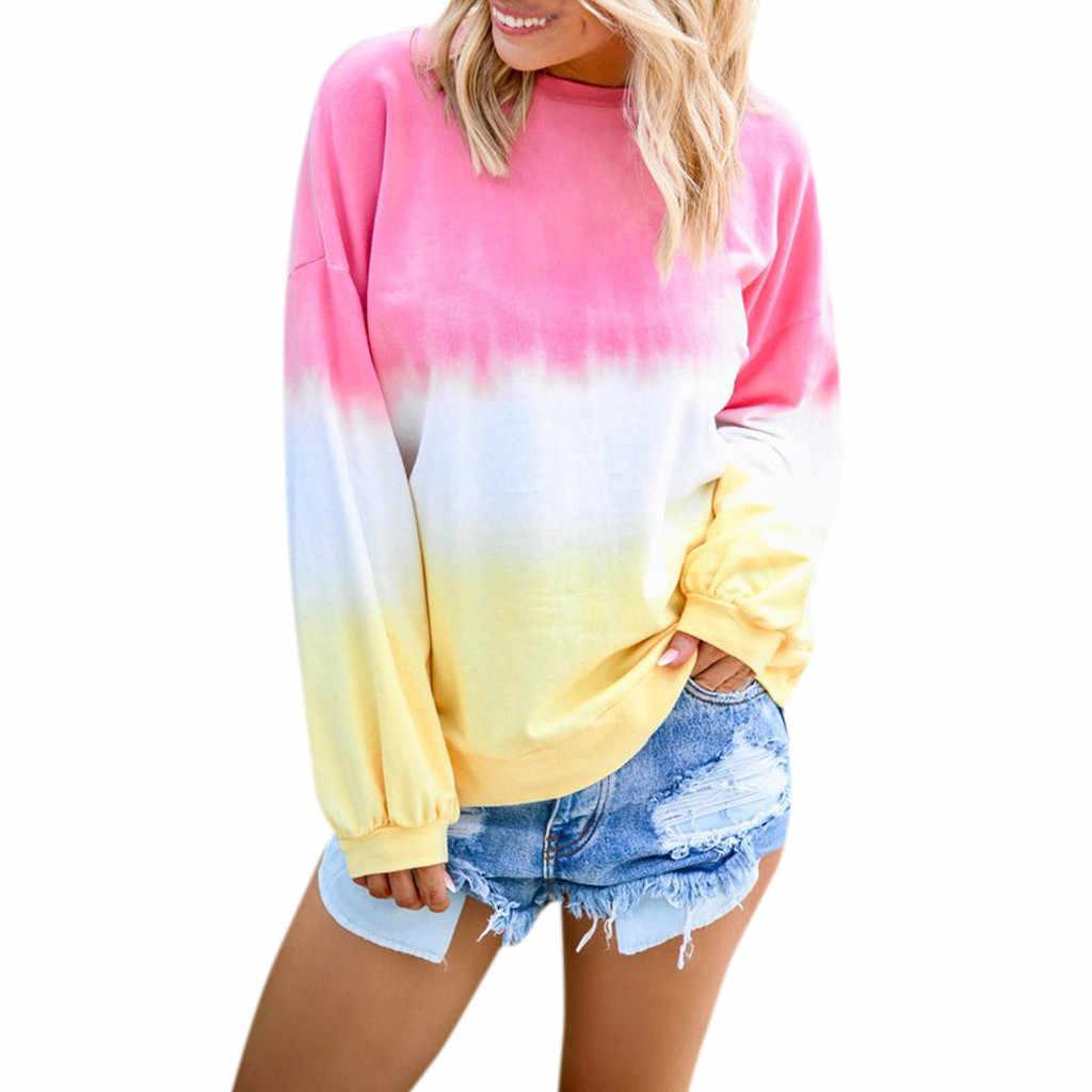 Casual O-Neck Gradient Contrast สีเสื้อผู้หญิงแขนยาวเสื้อสวมหัว Rainbow Patchwork Pullover Top Streetwear # Y3