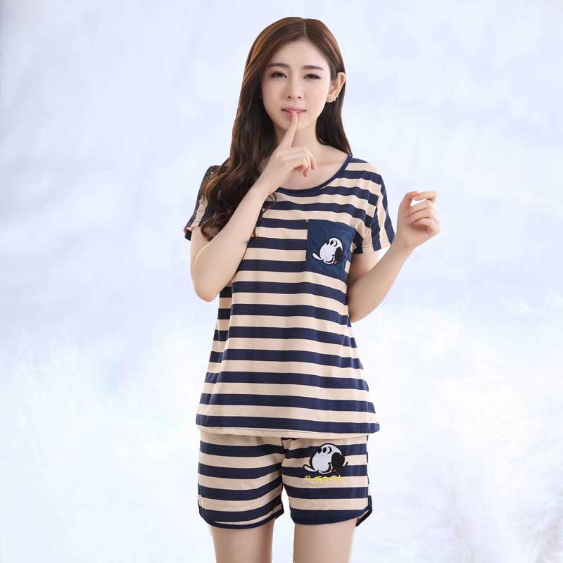 Woman   Pajamas     Sets   Summer Cotton Short Sleeved   Pajamas     Sets   Women Striped   Pajamas   Sweet Girl Sleepwear Cartoon Loungewear Pyjama