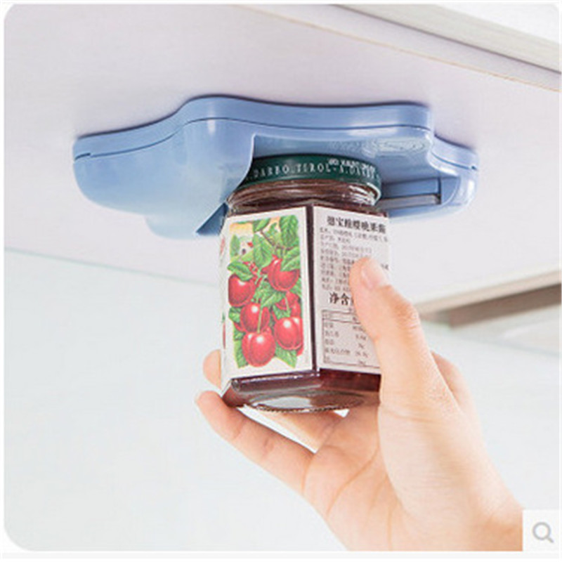 Can Opener Creative Can Opener Under the Cabinet Self-adhesive Jar Bottle Opener Top Lid Remover Helps Tired or Wet Hand Random