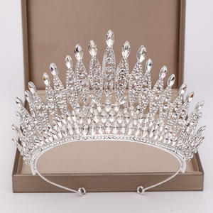 Wedding Tiara Jewelry Hair-Accessories Crystal-Queen Big-Crown Silver-Color Beauty Pageant