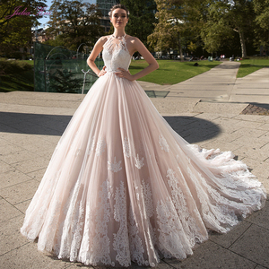 Julia Kui Vintage Ball Gown Wedding Dress 2020 Customized Sexy Halter Backless Court Train Princess Wedding Gowns(China)