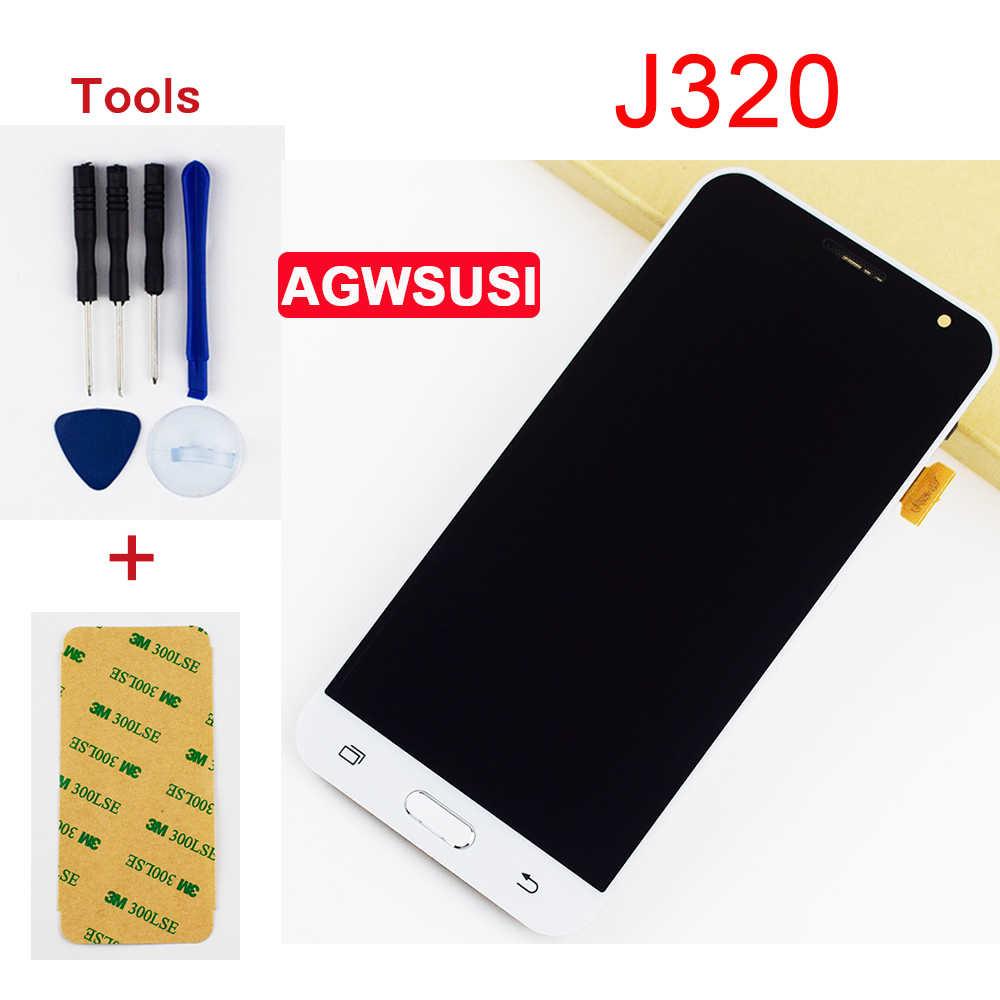 شاشات LCD لسامسونج غالاكسي J3 2016 LCD شاشة J320 J320A J320F J320H J320FN شاشة الكريستال السائل مجموعة المحولات الرقمية لشاشة تعمل بلمس الإطار