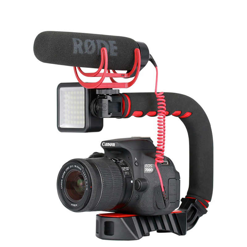 Ulanzi U-Grip Pro Triple Shoe Mount Video Stabilizzatore Maniglia Video Grip Camera Phone Video Rig Kit per Nikon canon iPhone X 8 7
