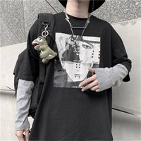 Cotton Naruto Tshirt Amine Print T shirts Men Women Autumn Long Sleeve Loose T Shirt Funny Japan Cartoon Tshirt Streetwear Males