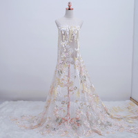 Apricot and Pink Soft Colorful Lace Embroidered Dress Wedding Lace Fabric, by the Yard