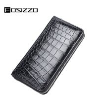 FOSIZZO Men Wallet Genuine Leather 100% Crocodile Luxury Long Alligator Wallet Case For Business Men Phone Bag Purse FS3018