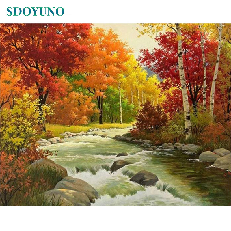 SDOYUNO 60X75cm Oil Painting By Numbers Autumn Creek Room Decoration Frameless Digital Canvas Painting DIY Pictures By Numbers