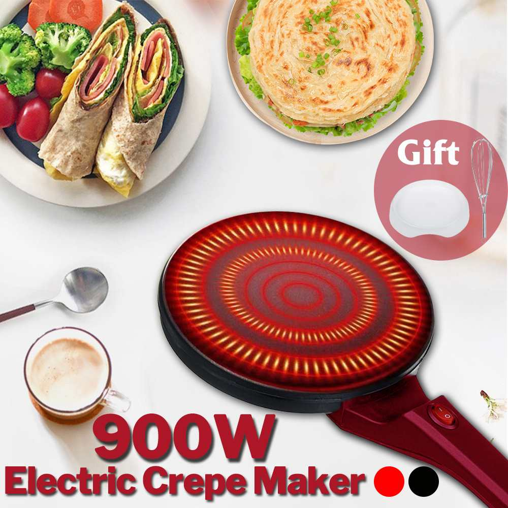 900W Non-stick Electric Crepe Pizza Maker Pancake 220V Non-stick Griddle Baking Pan Cake Machine Kitchen Cooking Tools Crepe