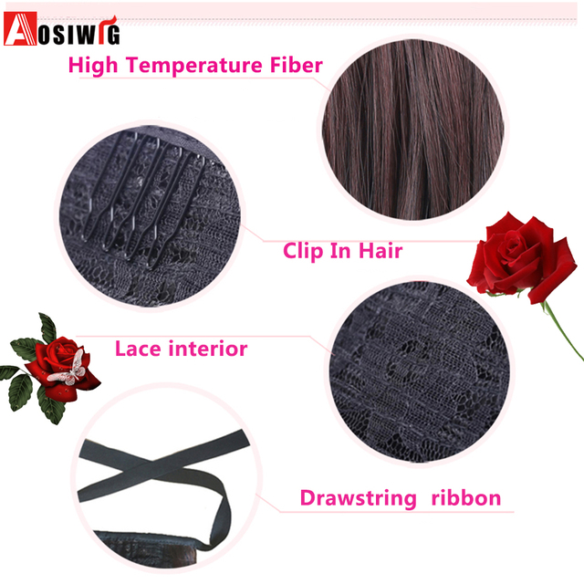 AOSIWIG Long Curly Ponytail Hair Ribbon Drawstring Wrap Hair Tail Clip In Ponytail Extensions Heat Resistant Synthetic Fake Hair