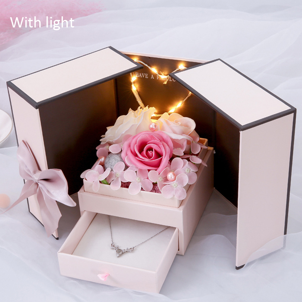 Foldable Romantic Soap Flower Jewelry Gift Box Valentine Day Gift Girlfriend Wife New Year Christmas Boxes Wedding Decor Light