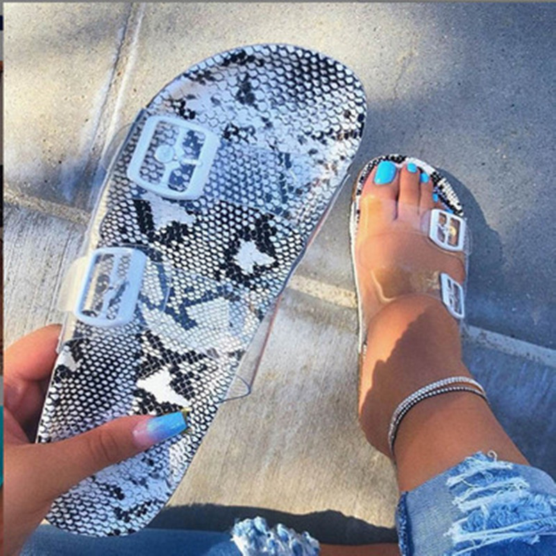 2020 Crystal Outdoor beach sandals Summer Women Slippers Bling ladies open toe Comfort slip woman shoes Candy color Cobra