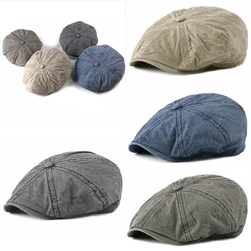 Vintage Men's Eight-blade Cap Washed Cotton Newsboy Cap Beret Casual Outdoor Octagonal Flat Cap Hat Autumn British Painter Hat