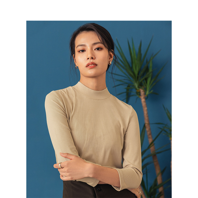 INMAN Spring New Arrival Solid Color Round Collar Basic Minimalist Fitting Women 3/4 Sleeve T-Shirt