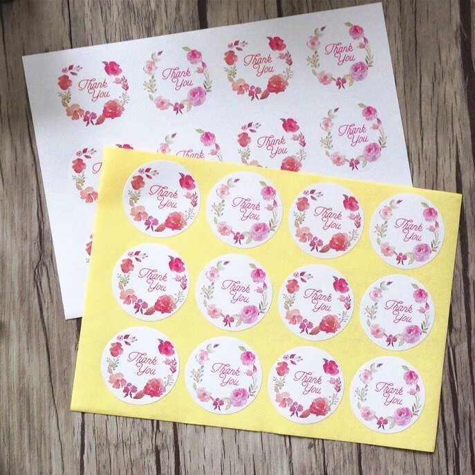 120pcs/pack Wreath Thank You With White Background Gift Decoration Sticker Wrapping Paper Seal Stickers