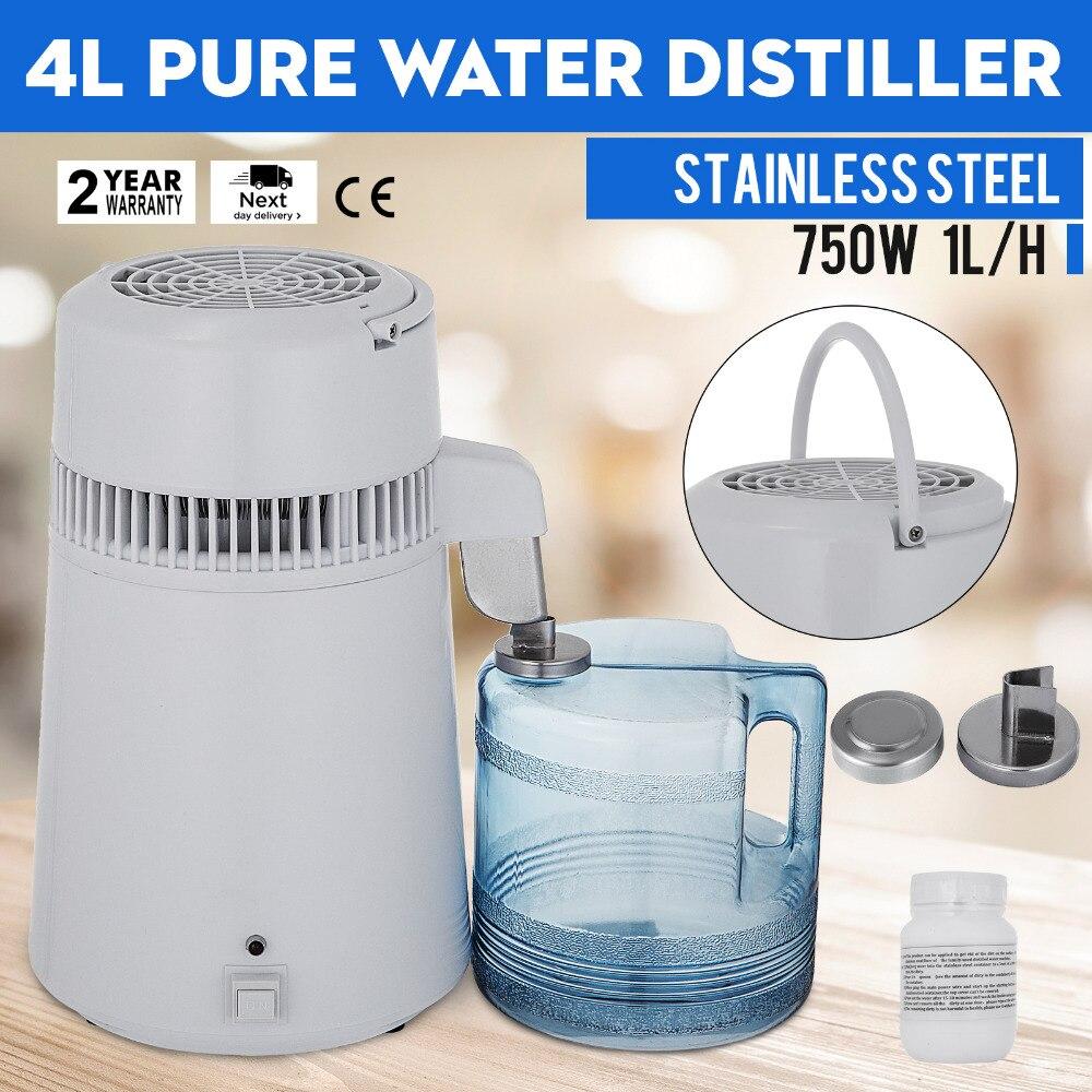 Distilled Water Machine 4L 750W Safe Health Water Distiller Stainless Steel 110V/220V