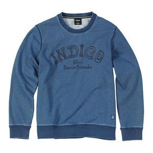 Image 5 - SIMWOOD 2020 가을 뉴 인디고 데님 까마귀 남성 씻어 빈티지 긴 소매 풀오버 편지 인쇄 streetwear 스웨터 SI980511