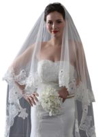 Crystal Beading Cathedral Wedding Veils Bridal Veils Vintage Lace Wedding Bridal Veils Custom Two Tiers