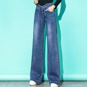Image 1 - Femmes taille haute maman jean Denim cordon large jambe jean bleu ample Palazzo pantalon 2019 automne mode petit ami jean Mujer