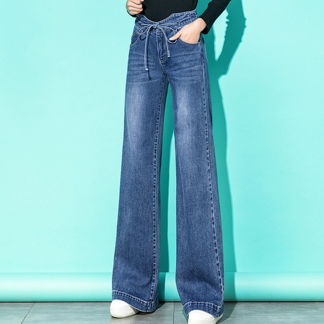 Mulheres de cintura alta mãe jeans denim cordão perna larga jeans azul solto palazzo calças 2019 outono moda namorado jeans mujer