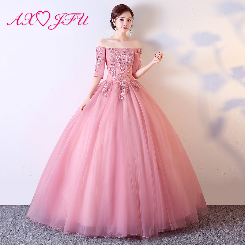 AXJFU princess pink lace   evening     dress   vintage boat neck illusion rose flower lace host half sleeve stage pink   evening     dress
