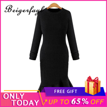 Beigerfayl 2019 Autunm Winter Dress Knit Long Sleeve Office Solid Cotton 4XL Plus Size Oversize O Neck Dresses Casual Ruffle 650
