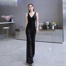 цена на Black Sequined Empire Dinner Party Dress 2020 Elegant V-Neck Backless Jumpsuit Formal Sleeveless Pant Suit Evening Dress Pants