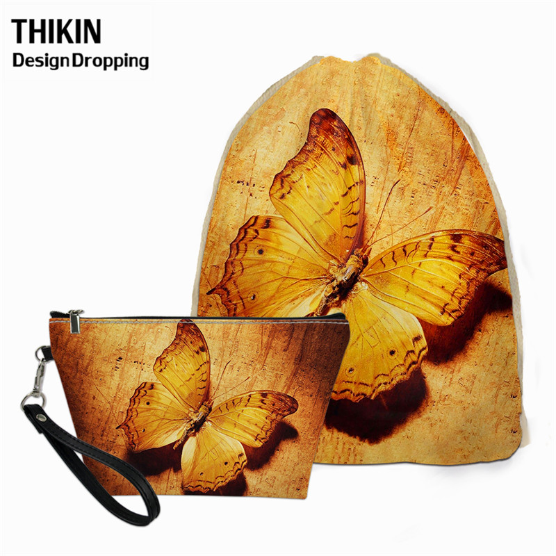 THIKIN Fashion 3D Butterfly Printed 2PCS/Sets Women Drawstring Bag Ladies Waterproof Cosmetic Bag Travel Bagpack For Teen Girls