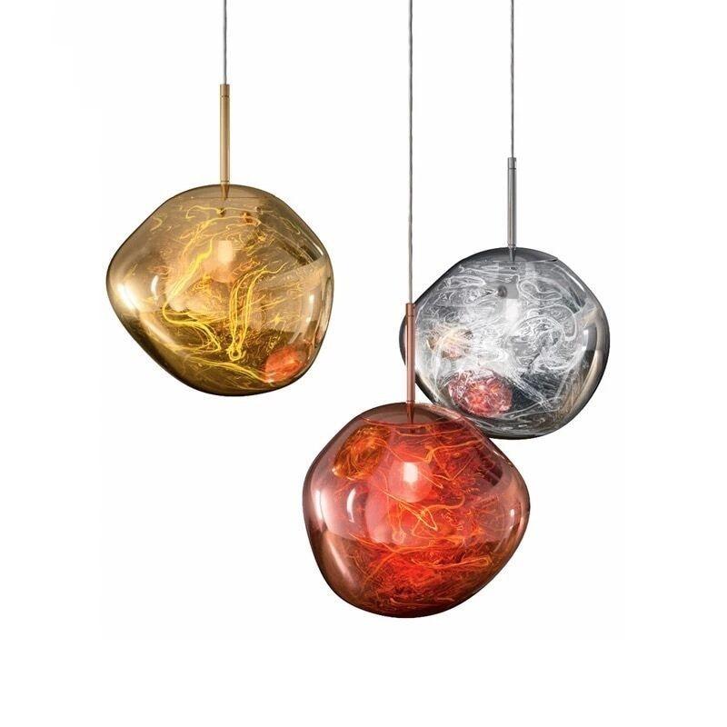 Modern LED Pendant Light Glass Dixon Lava Luminaire Silver Red Simple Hanging Lamp Living Room Den Pendant Lamp Light Fixture|Pendant Lights|   - title=
