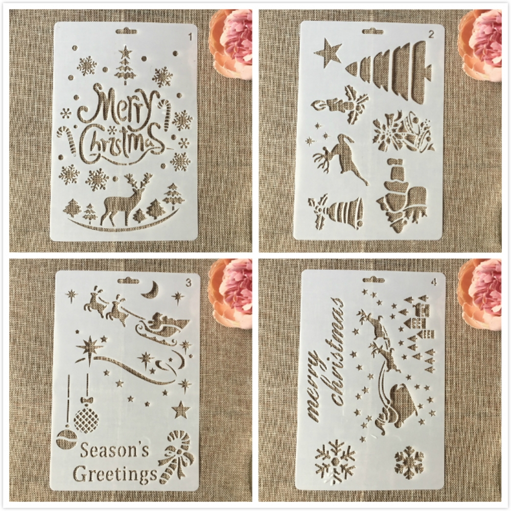 4Pcs/Lot 26cm Christmas Pine Tree Greetings DIY Layering Stencils Painting Scrapbooking Stamping Embossing Decorative Template