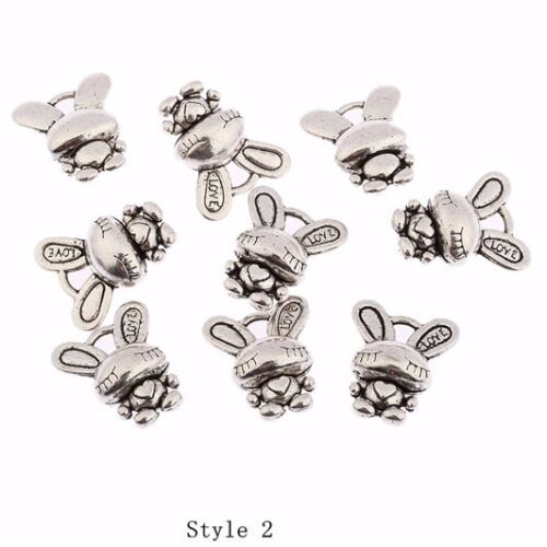 Lot 10pcs cute cat antique silver charms pendants jewelry DIY finding 28*13mm