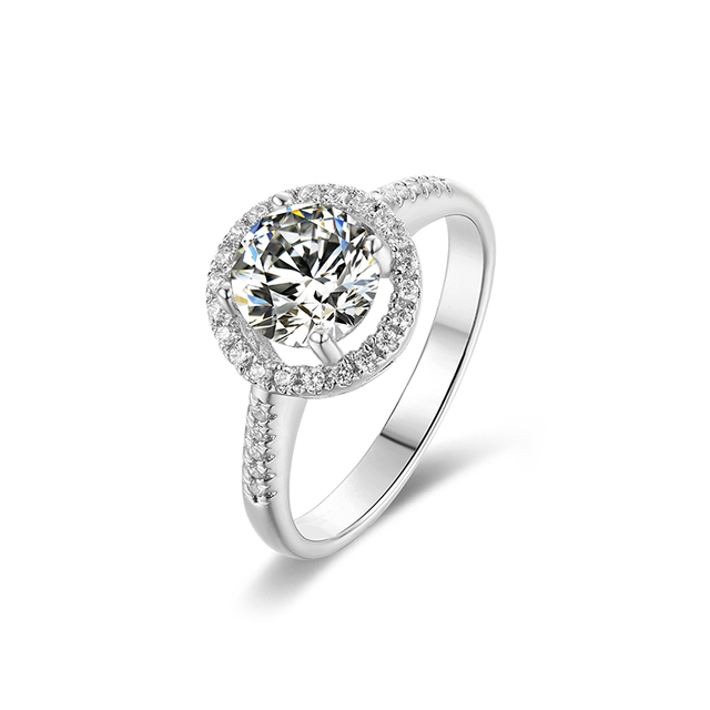 BOEYCJR 925 Silver Heart 1ct F color Moissanite VVS1 Elegant  Engagement Wedding Ring With national certificate for Women Gift 1