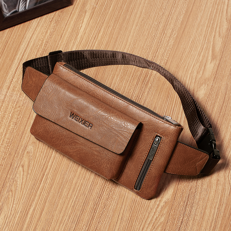 Men PU Leather  Casual Durable Fanny Waist Bag Bum Pack Sling Strap Backpack Sling Shoulder Bag New Pouch  Zipper Pocket