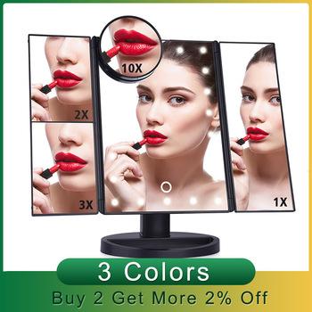 Lustro do makijażu profesjonalny a LED ekran dotykowy lusterko kosmetyczne 22 lampa biurkowa pulpit makijaż 1X 2X 3X 10X lustra powiększające tanie i dobre opinie AFDEAL CN (pochodzenie) Obramowany Three Sided Folding Magnifying Makeup Mirror Szkło
