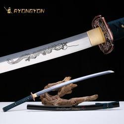 Ryongyon artesanal katana real espada afiada genuína japonês samurai espada japão ninja 1095 aço completa tang lâmina 601